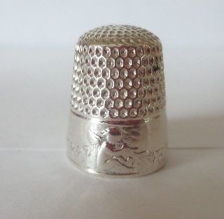 Antique Webster Sterling Silver Seated Cherub Thimble Size 8 photo