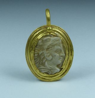 Stunning Ancient Roman Gold Cameo Pendant Alexander The Great 2nd/3rd Ad photo