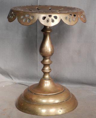 Antique Gothic Revival Brass Pedestal Hearth Trivet Tea Kettle Teapot 1860 photo