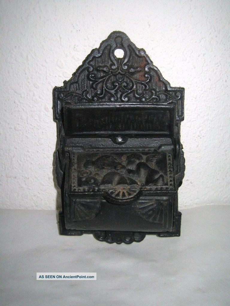 Vintage Match Safe Holder Cast Iron Wall Hanging 2 Compartment Winged Angel Hearth Ware photo