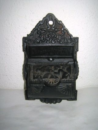 Vintage Match Safe Holder Cast Iron Wall Hanging 2 Compartment Winged Angel photo