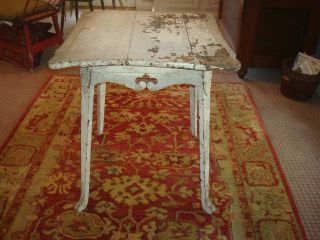 Antique Primitive Table With Chippy Whie Paint/ Ornate Skirt photo