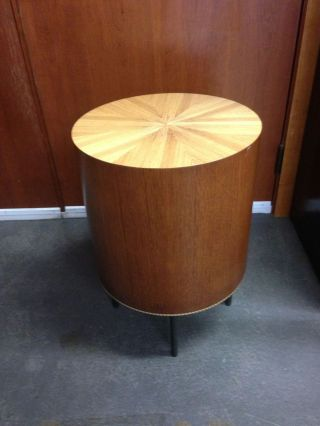 Contemporary Custom Made Inlaid Cocktail Drum Table W/ Hand Forged Branch Legs photo