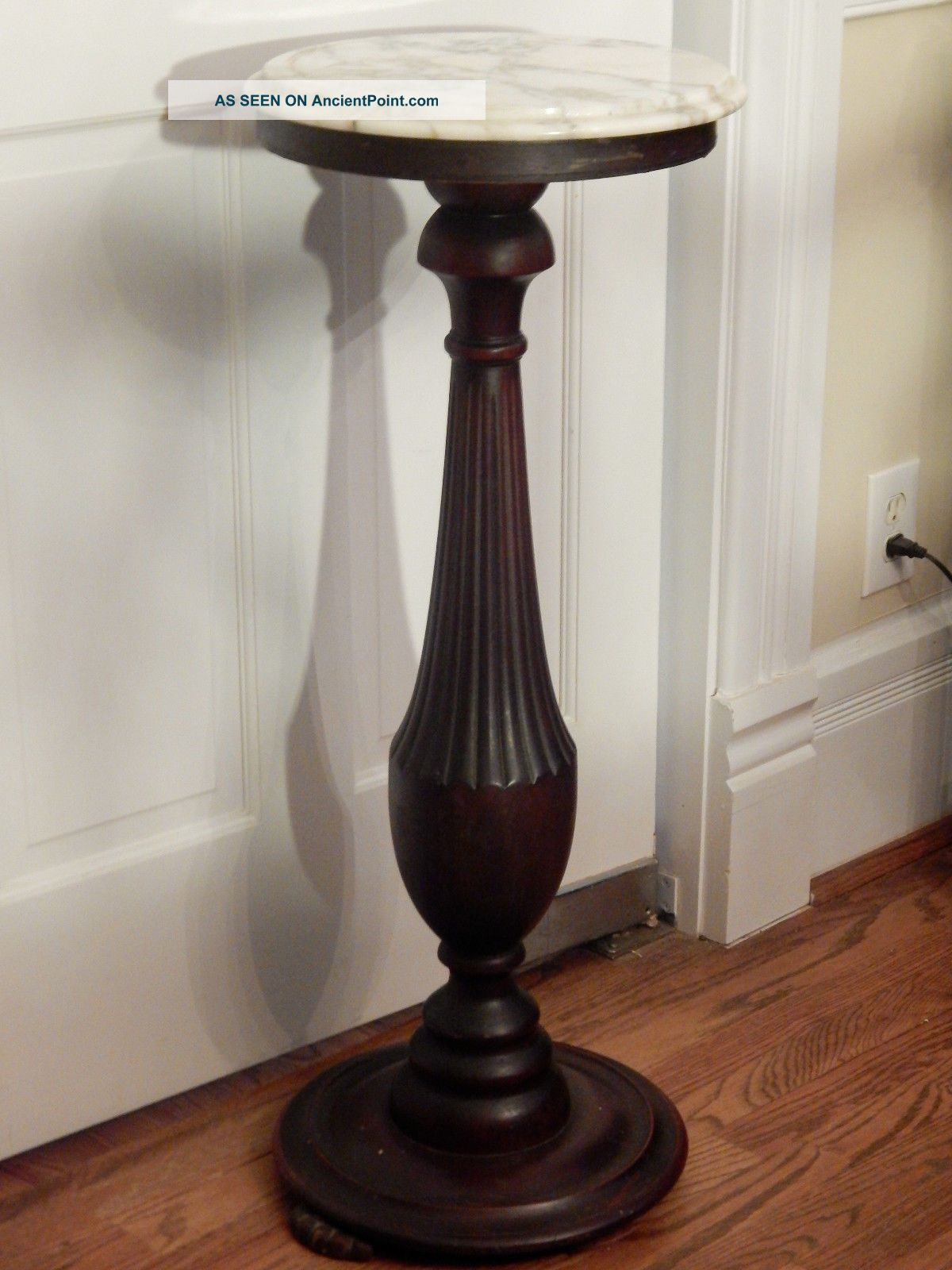 Victorian Marble Top Dark Mahogany Plant Stand 32