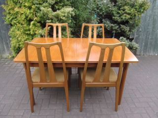 Mid Century Danish Modern 1960 ' S Teak Extending Dining Table & 4 Chairs photo