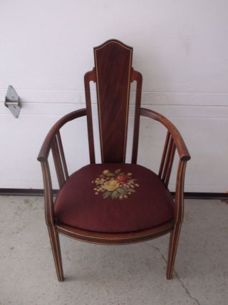 Antique Victorian Art Nouveau Inlaid Mahoganyneedlepoint Parlor Arm Chair photo