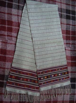 Antique Towel Ukrainian Rushnyk Homespun Woven Heavy Hemp Real 19c photo