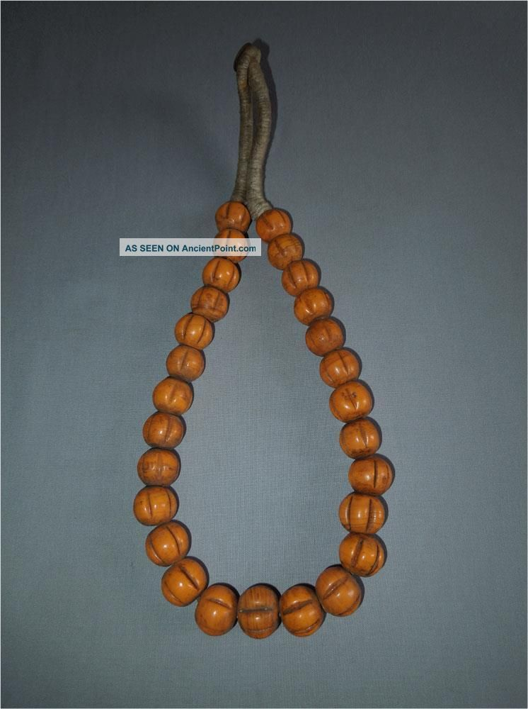 Antique Himalaya India Top High Aged Tribal Large Orange Glass Melon Beads Pacific Islands & Oceania photo
