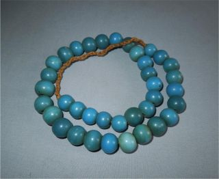 Antique North East India Top Very High Aged Adi Tribe Round Blue Glass Beads photo