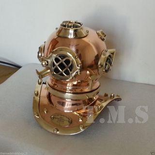 Solid Brass Copper Us Navy Diving Divers Helmet Miniature Antique Style Replica photo