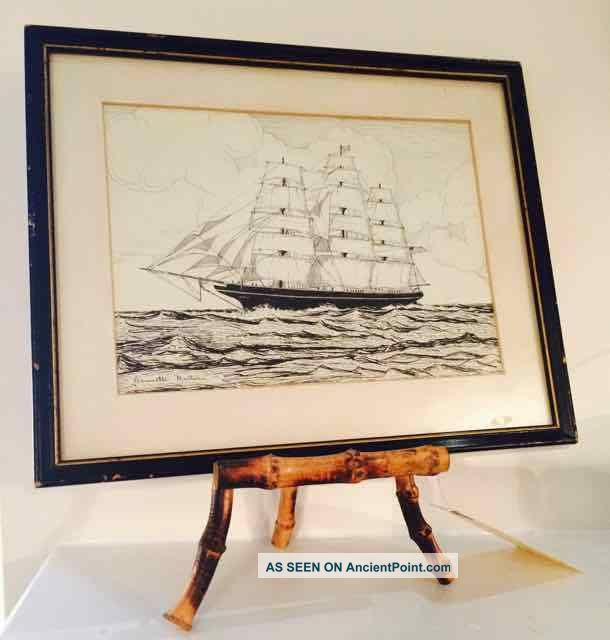 1927 Ocean Clipper Ship Ink Drawing Signed Minturn Owners ' Flying Cloud ' Folk Art photo