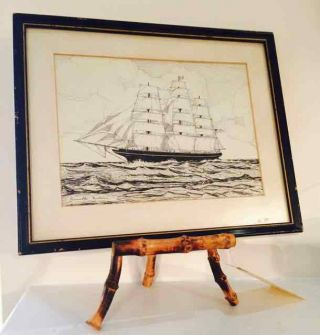 1927 Ocean Clipper Ship Ink Drawing Signed Minturn Owners ' Flying Cloud ' photo