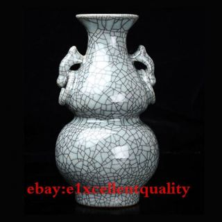 Old Chinese Handcrafted Guan Kiln Porcelain Binaural Gourd Shape Vase photo