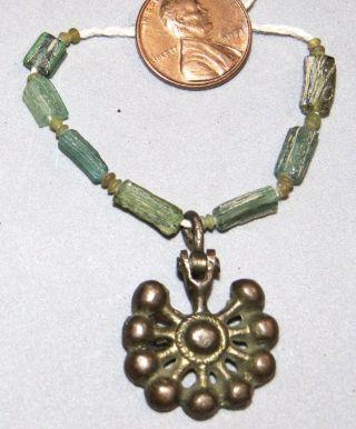 Ancient Roman Glass Beads Roman Pendant 200 - 600ad Rare photo