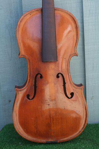 Interesting & Orig.  19thc Full Size Violin Of European Origin C1890s photo