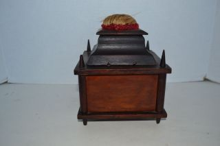 Antique Shaker? Early Wood Sewing Box Contents Spools Winders Pin Cushion 1800's photo