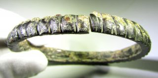 Very Rare Ancient Celtic Bronze Decorated Arm Ring / Bracelet - Mn70 photo
