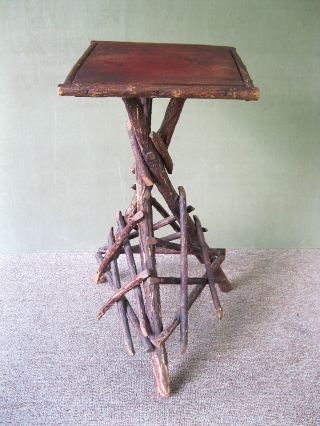 Antique Twig Table Stand Tramp Art Primitive Old Reddish Brown Pt Pine & Hickory photo