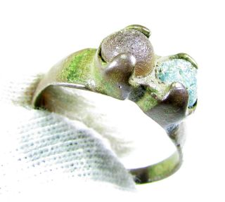 Rare Medieval Bronze Ring With Two Stones - Wearable - Uk Size L - Gh53 photo