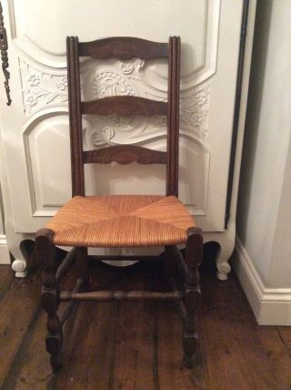 6 French Vintage Oak Louis Xv Style Dining Chairs photo