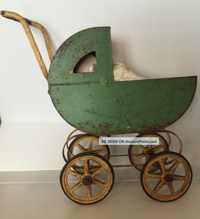 Antique Vintage Carriage Buggy Baby Doll Stroller Metal Frame Wood Wheels Baby Carriages & Buggies photo