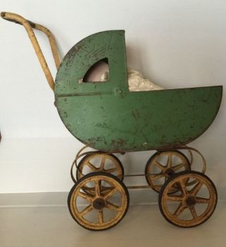 Antique Vintage Carriage Buggy Baby Doll Stroller Metal Frame Wood Wheels photo