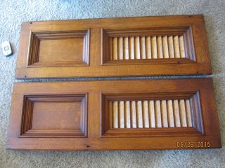 2 Tiger Oak Gothic Church Heat Vent Grate Victorian Radiator Shutters Cover Door photo