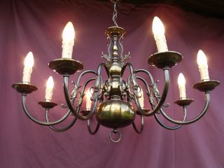 @amazing Vintage Flemish Brass Chandelier - Right From Bruges Special Look photo