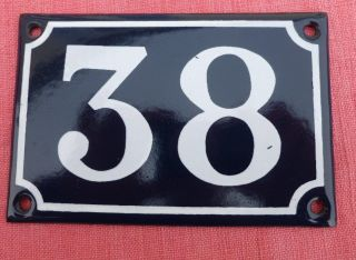 Vintage French Enamel House Number 38 Door Metal Sign Blue photo