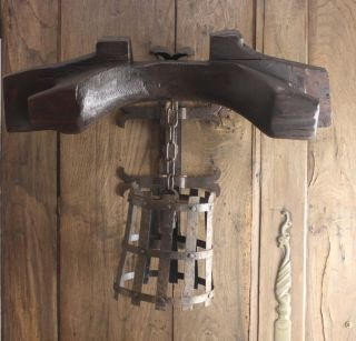 Antique Wrought Iron & Wood Wall Sconce For Repair photo