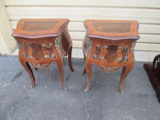 56449 Pair Louis Xv Niightstand End Table Stand S photo