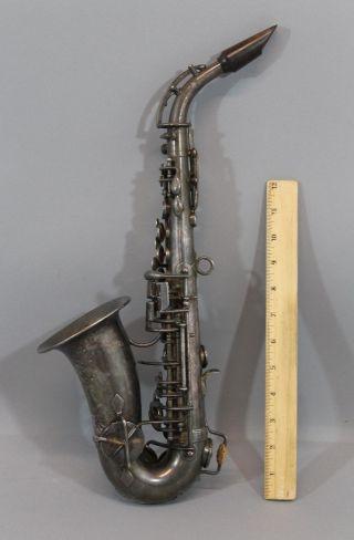 Tiny Antique 1913 Silver Buffet - Crampon Paris Curved Soprano Saxophone.  Nr photo