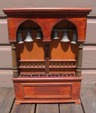 Antique Vintage Victorian St Pauls Chimes Bells Music Box Instrument Keyboard photo
