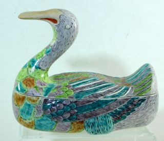 Vintage Chinese Porcelain Figural Goose Shaped Box Covered Bowl photo