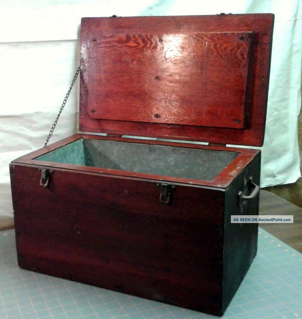 Antique Primitive Wood Ice Box Chest To Transport Butter Rare W Old Red Finish Ice Boxes photo