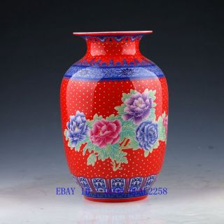 Chinese Pastel Colorful Hand - Painted Peony Vase W Qing Dynasty Qianlong Mark photo