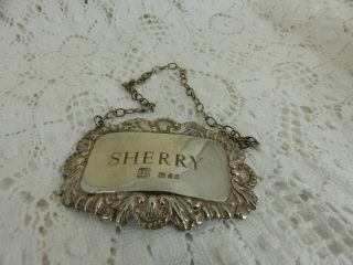 Sterling Silver Sherry Bottle Label 1976 13grams photo