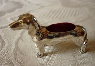 Solid Sterling Silver Dachshund Dog Pin Cushion With Glass Eyes (burgandy) photo