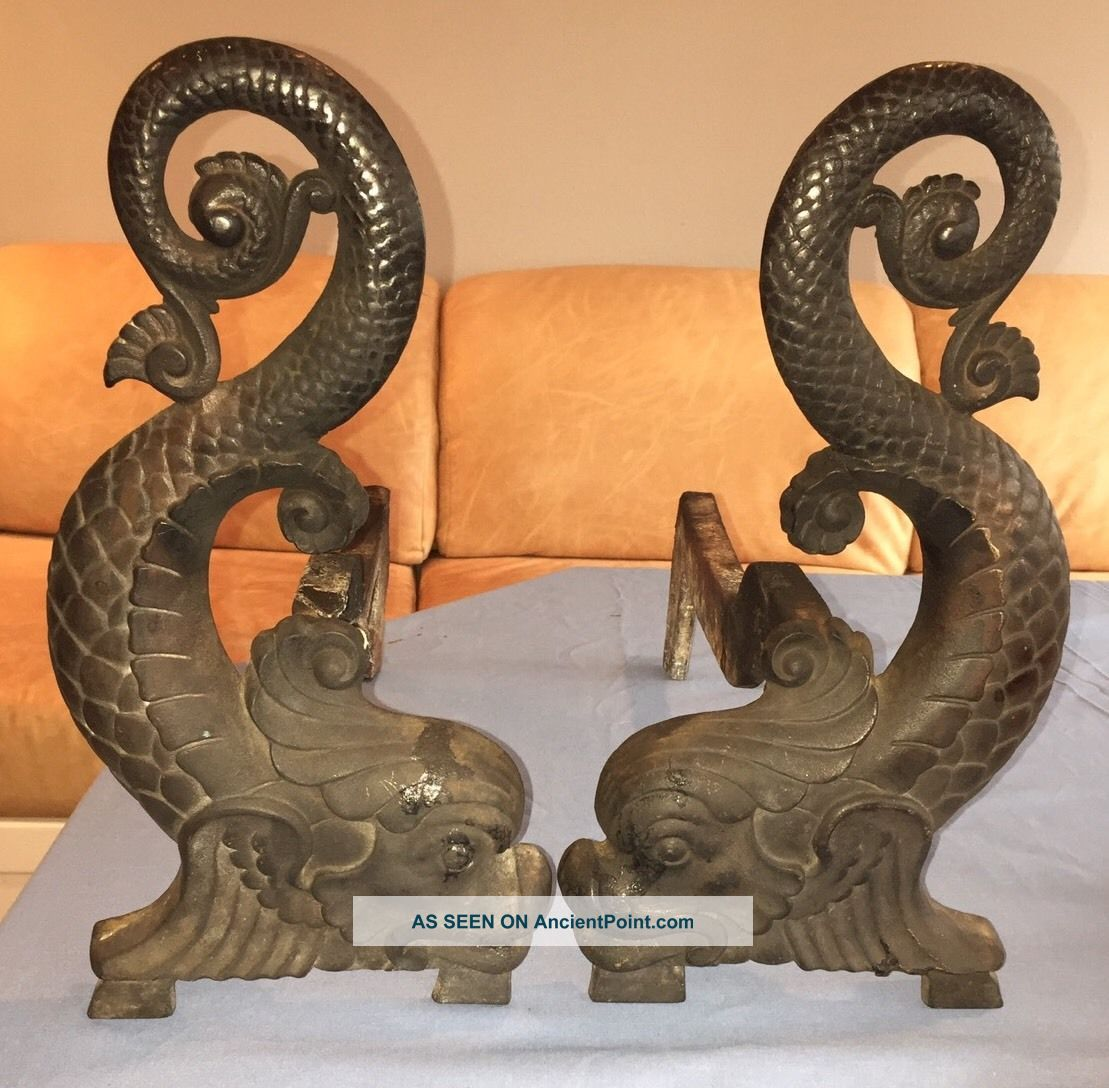 Antique Solid Brass Bradley & Hubbard Andirons 9512 Submariner Mythical Dolphins Hearth Ware photo