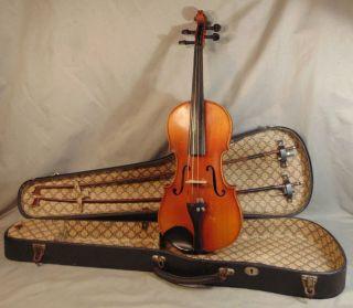 Antique German 4/4 Antonius Stradivarius Student Violin W/ 2 Bows & Case photo
