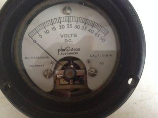 Vintage Phastron Ruggedized D.  C Volt Gauge 0 - 50 Volts,  210 - 06942 photo