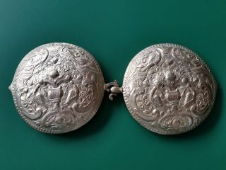 Antique Silver Alloy Belt Buckle With Floral Ornaments And Songbirds From 19th C photo
