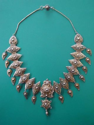 Stunning Jewelry Ottoman Hand Knitted Filigree Silver Necklace,  Gilding 19c. photo