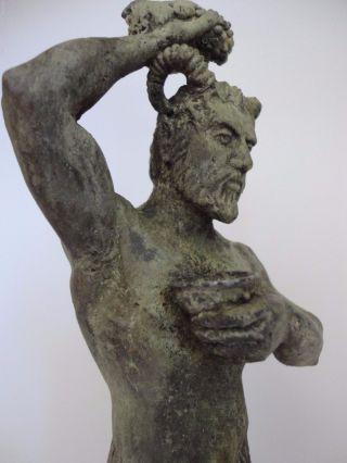Bronze Figure Satyr Pan Statuette Sculpture Art Mythical Deco Roman Greek Modern photo