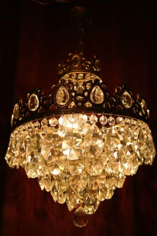 Antique Vnt French Basket Style Crystal Chandelier Lamp 1940s 14in Dmter photo