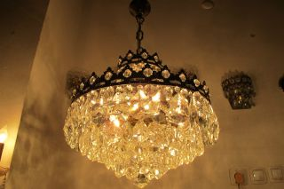 Vnt French Huge Basket Style Crystal Chandelier Special Pls No Bid photo