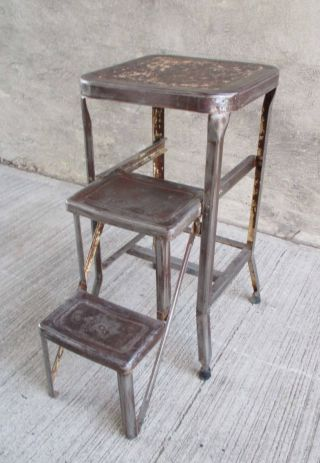 Vintage Pull Fold Out Step Stool - Metal - Industrial - Kitchen (7) photo
