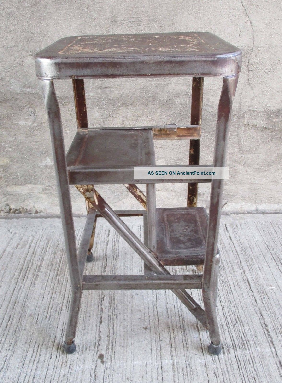Very Impressive portraiture of Vintage Pull Fold Out Step Stool Metal Industrial Kitchen (7  with #473433 color and 1176x1600 pixels