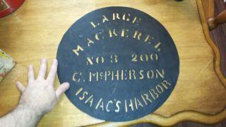 1800 ' S Tin Fish Crate Stencil Isaac ' S Harbor N.  S.  G.  Macpherson Mackerel 15