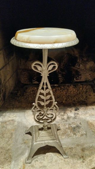 Antique Victorian Cast Iron And Marble Top Plant Stand photo